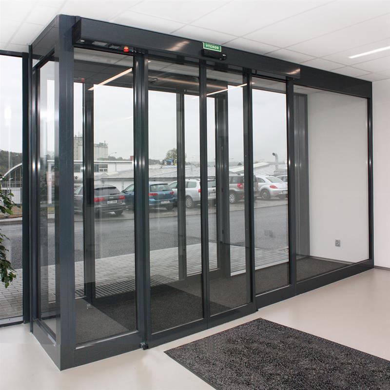 Moderná hliníková konštrukcia automatických dverí